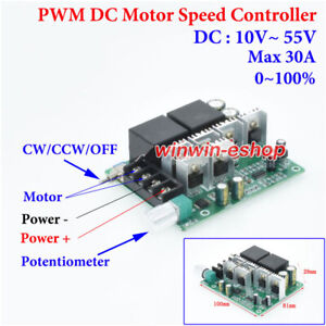 DC 10-55V 12V 24V 48V 30A PWM DC Motor Speed Controller CW CCW Reversible Switch