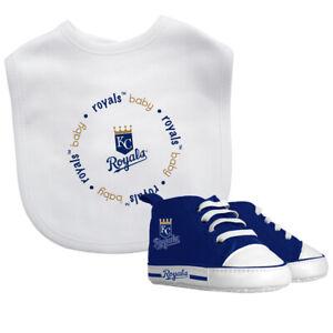 Kansas-Ciudad-Realeza-Bebe-Set-Babero-amp-Zapatos-Oficial-MLB-Bpa-Libre
