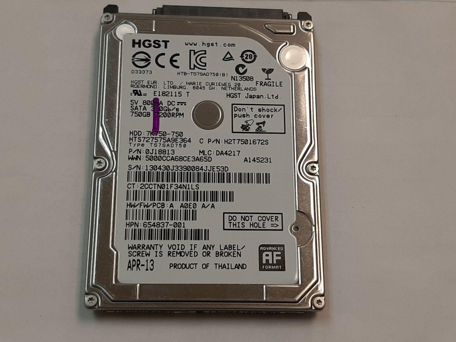 Hgst 750gb 7200rpm 2 5 Sata Laptop Hard Drive Hts727575a9e364 For Sale Online