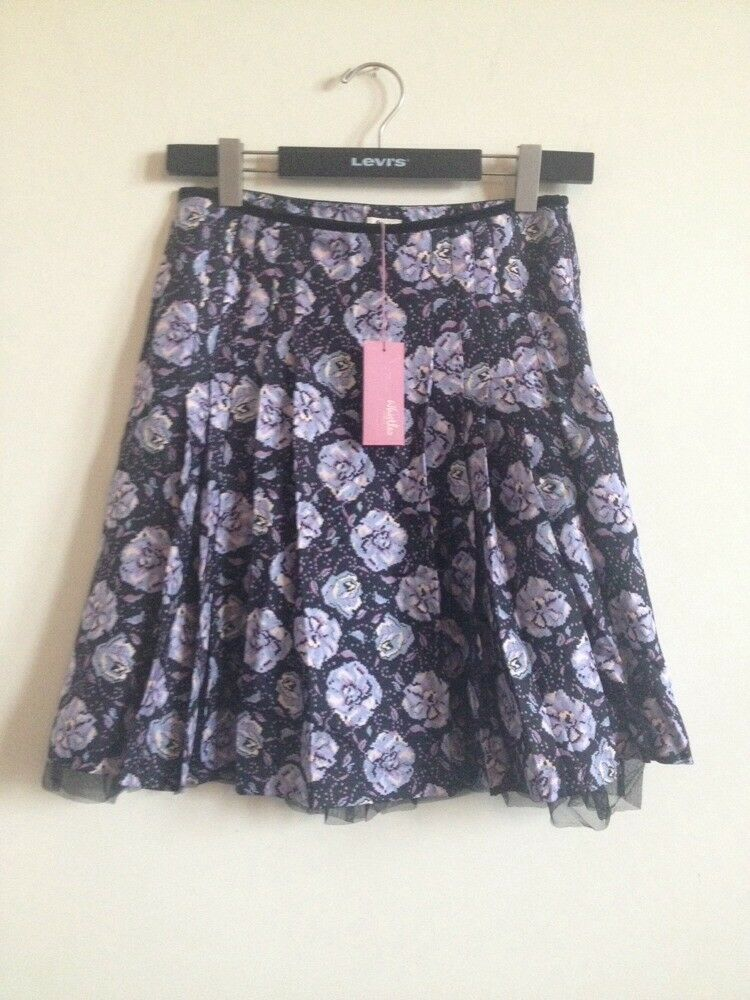 New  Size 10 Whistles Silk Occasion Skirt Purple Floral Digital Pixel Print