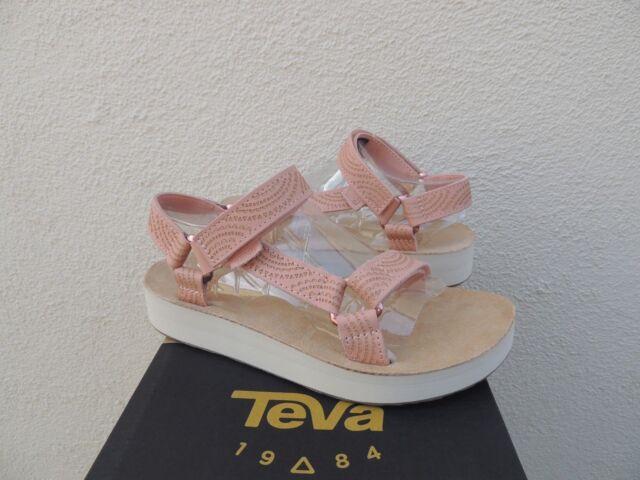 ff8ab6a36049 Teva Tropical Peach Midform Universal Geometric Leather Sandals US 10  41