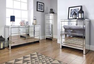 Image Is Loading Birlea Seville Mirrored Bedroom Furniture Range Mock Crystal
