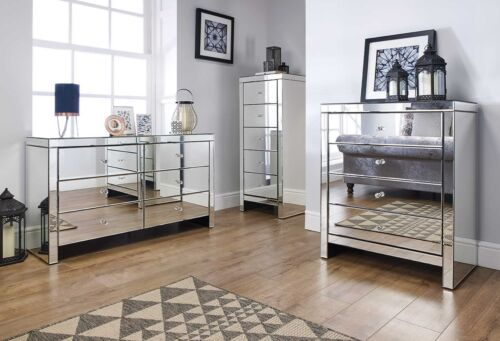 Birlea Seville Mirrored Bedroom Furniture Range  Mock Crystal Handles  Assembled