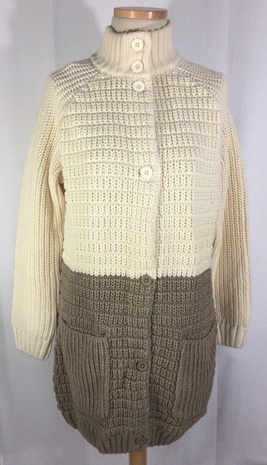 New Hanna Andersson Ivory Tan Two Tone Sweater Cardigan Coat sz L