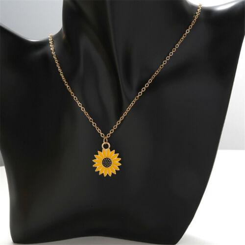 Enamel Daisy Flower Jewelry Set Gold Plated Necklace Pendant Earrings Gift Z