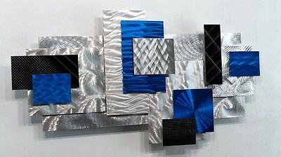 Metal Abstract Modern Blue Painted Wall Art Decor Sculpture - Power Play