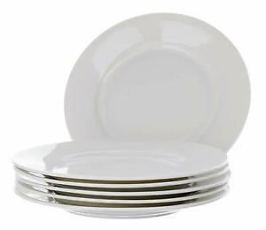 WHITE-PLATES-8-034-PORCELAIN-SALAD-PLATES-KITCHEN-6-SET