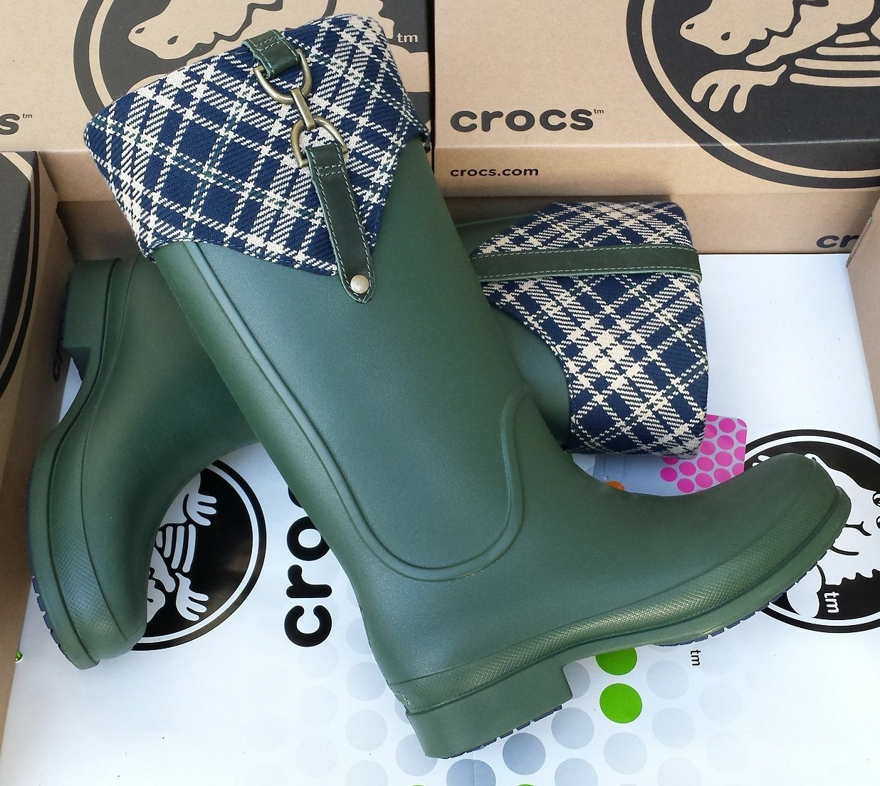 CROCS BRIDLE WELLIE PLAID JAUNT GEORGIE RAIN BOOTS SHOE~Green Blue~Women 11~NWT