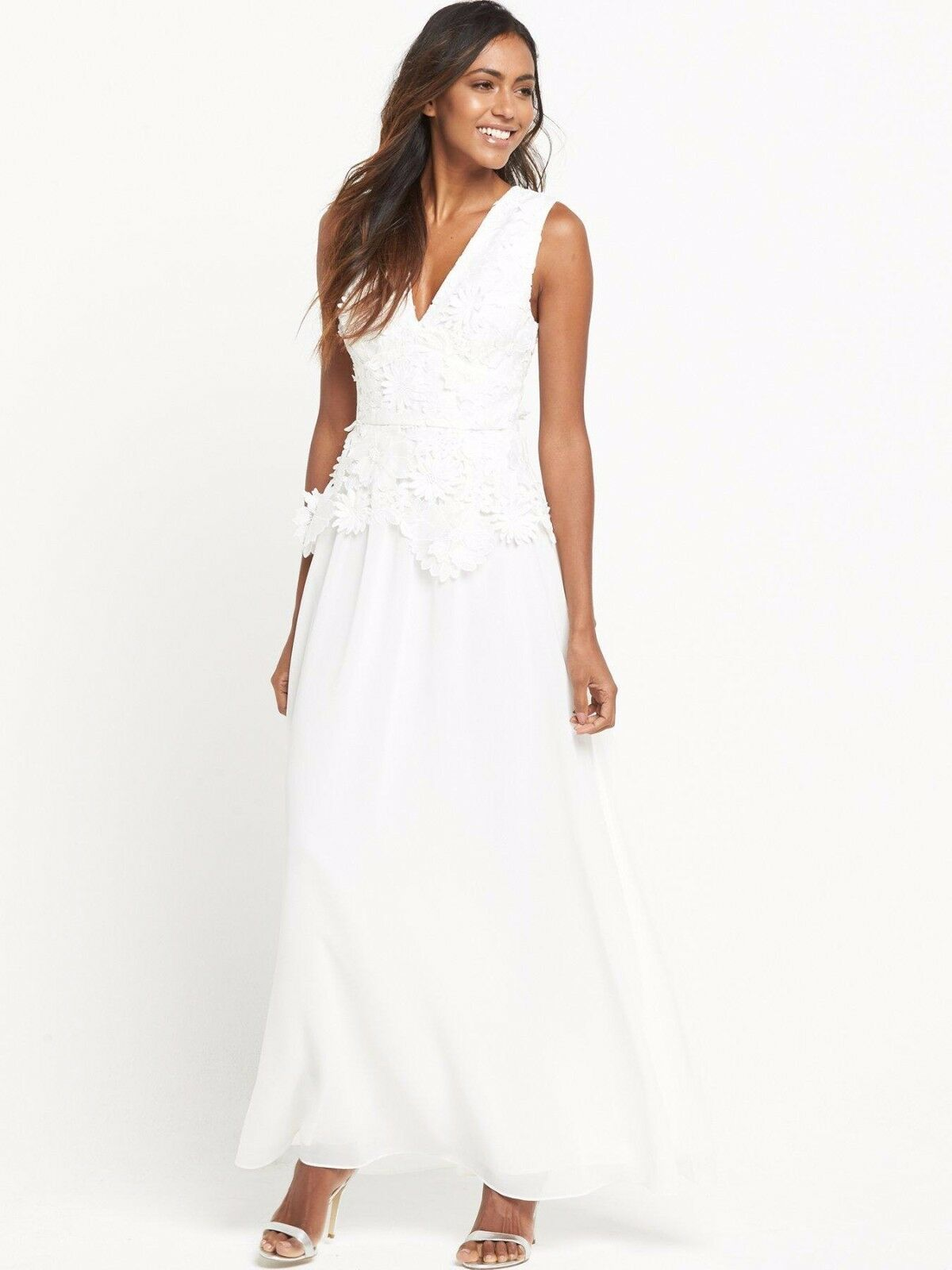 French Connection Bianco Bianco Bianco 3D Floreale Ricamato Maxi Party Cocktail Dress 10 38 3969a3
