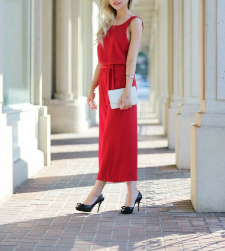 Zara RED OPEN BACK Fancy cropped Jumpsuit Dress ROSSO Overall schiena libero SIZE M