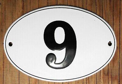 Classic ENAMEL HOUSE NUMBER 4 sign No.4 noir sur un fond blanc 5.8 cm.