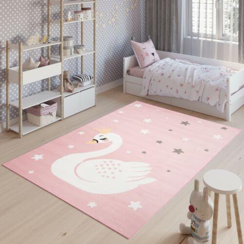 Teppich Kinderteppich Kurzflor Rosa Blau Sterne Schwan Kinderzimmer ÖKOTEX