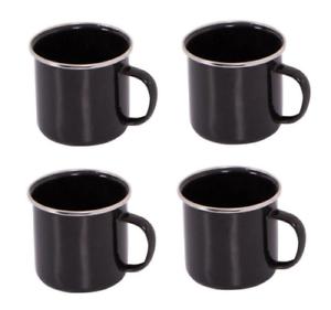 12 X Emaille Tasse Set black Dose Zelten Piknik Tee Suppe Trinken Becher