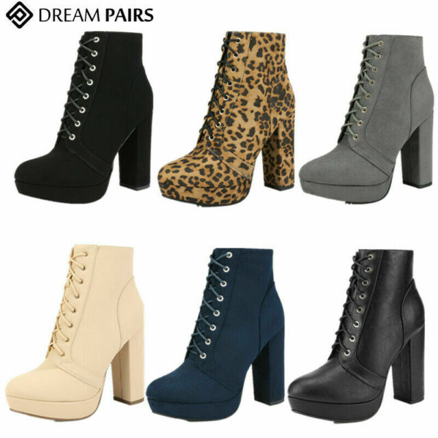 DREAM PAIRS Womens Ladies Ankle Boots Chunky High Heel Lace Up Zip Up Boots