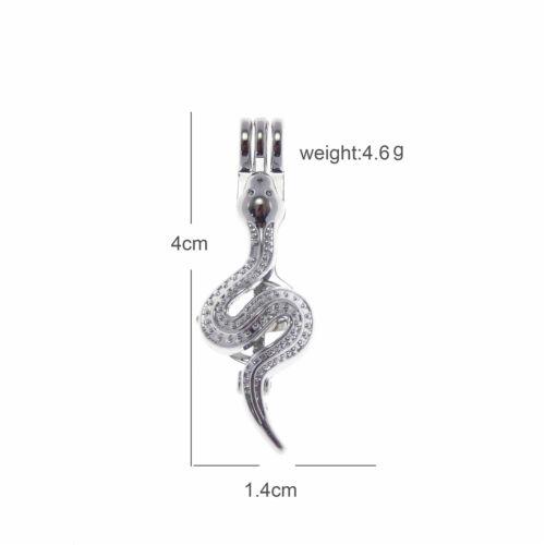 Paquete De 4 Diseño De Serpiente De Metal Plateado Perla Encantos Colgantes de jaula 40x14mm