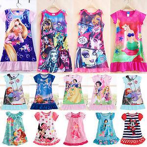 Fille-Enfant-Ete-Chemise-de-Nuit-Personnages-Pyjama-Pyjama-Mini-Robe