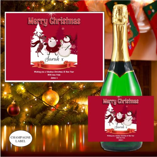 Personalised Christmas Wine Champagne Bottle Label Xmas Stocking Gift N120