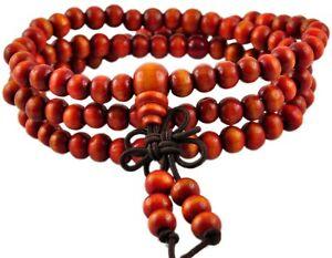 Mala Buddha Gebetskette Rudraksha Aum Tibet Sandelholz Perlen Orange Exquisite Traditionelle Stickkunst tg00201