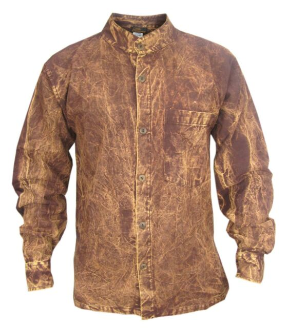 Rusty Dusky Vintage Grandad Collarless Emo Faded Cotton Casual Button Down Shirt