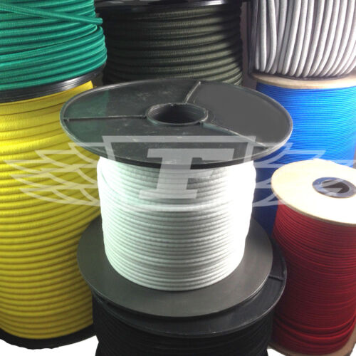 100m ROLLS of LUGGAGE ELASTIC BUNGEE ROPE SHOCK CORD TIE DOWN ALL COLOURS