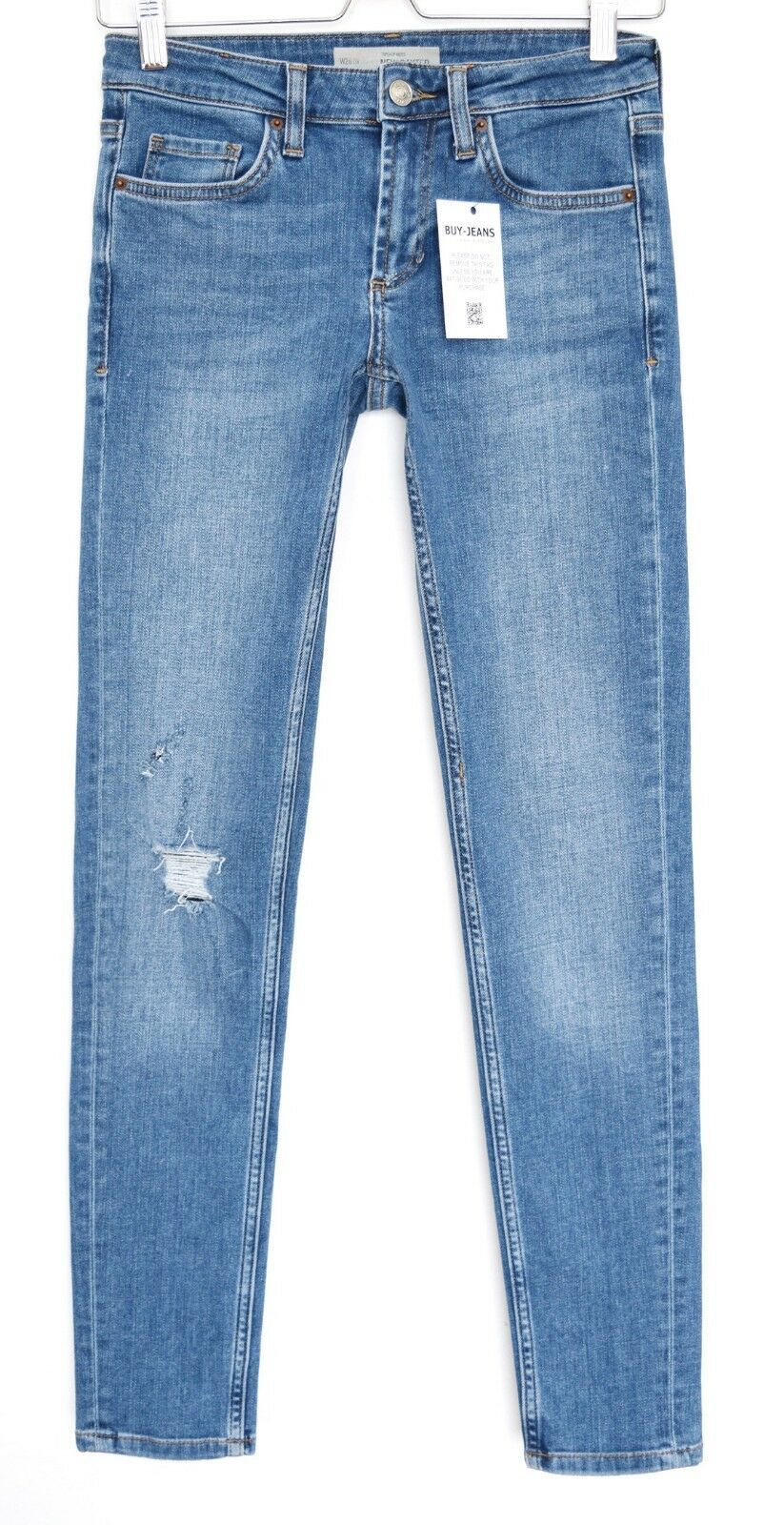Topshop Skinny NEW BAXTER bluee Low Rise RIPPED Cropped Jeans Size 8 W26 L34