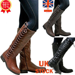 Womens-Faux-Lerather-Knee-High-Boots-Ladies-Flat-Side-Lace-Up-Winter-Shoes-Size