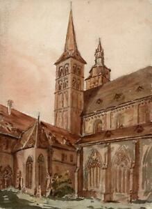 FRITZLAR-CHURCH-GERMANY-Watercolour-Painting-19TH-CENTURY-GRAND-TOUR