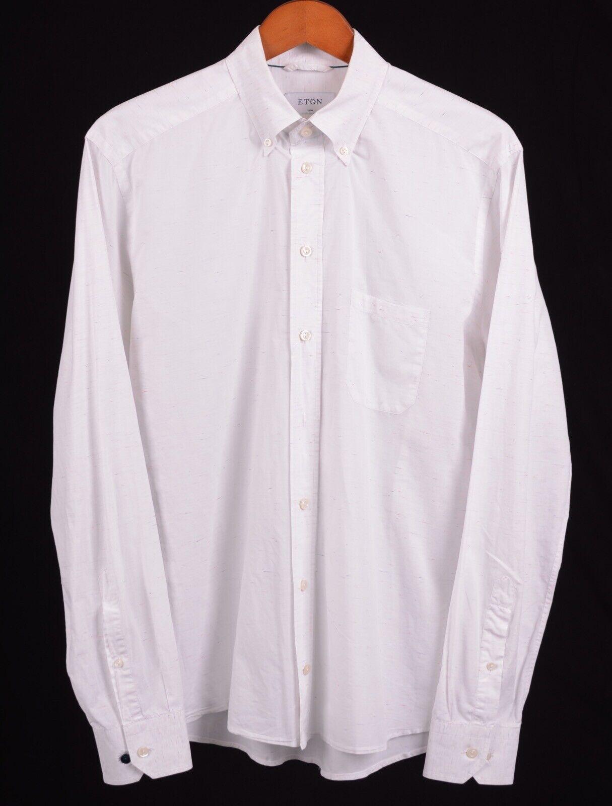 Eton SLIM White Rainbow Nep Cotton Lightweight Button Down Casual Dress Shirt L