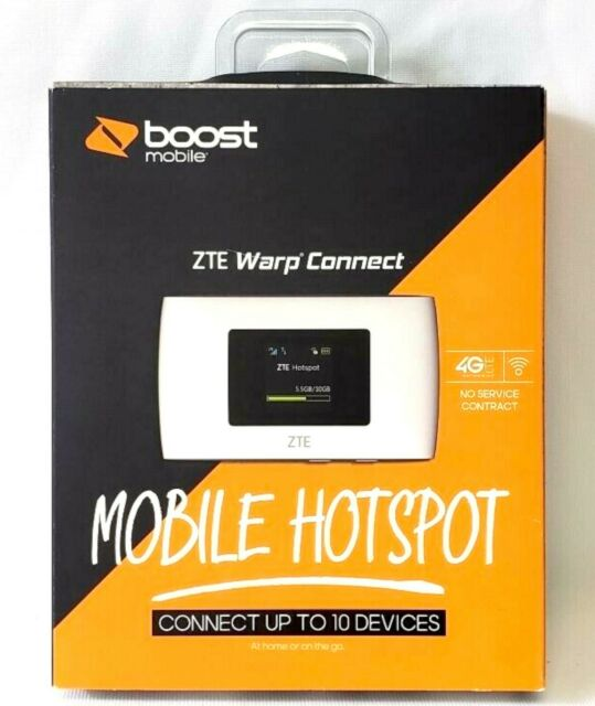 NEW Boost Mobile ZTE Warp Connect White 4G LTE WiFi Wireless Mobile Hotspot