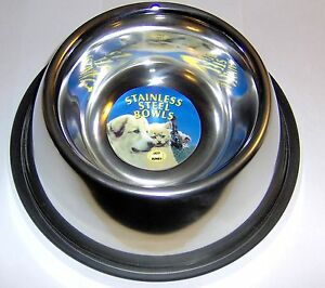 Stainless-Steel-Non-Tip-Spaniel-Dog-Bowl-Rubber-Base-Non-Slip-24-5cm-1litre