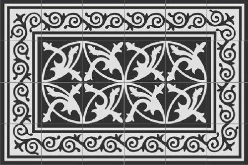Vintage Fliesen 24 bunte Kacheln Zementfliesen Mondial Welle schwarz weiß