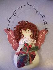 christmas decor country cottage rustic CABIN HANGING ANGEL FABRIC YARN BRICK RED