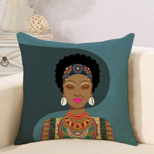 African Women Cushion Cover  Pillow Cover Throw cushions Black Women Cushion Cover 43cmx43cm