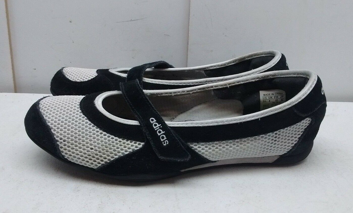 Adidas Fit Foam Women's Black White Leather Mesh Slip On Mary Jane shoes 9.5M 42