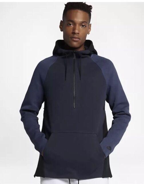 ba5bcec90556 Mens Nike Sportswear Tech Fleece Half-Zip Hoodie 884892-451 Obsidian New Sz  S