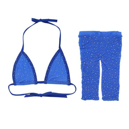 Frauen Zweiteiler Glänzende Transparent Badeanzug Set BH mit Panty Hose Dessous