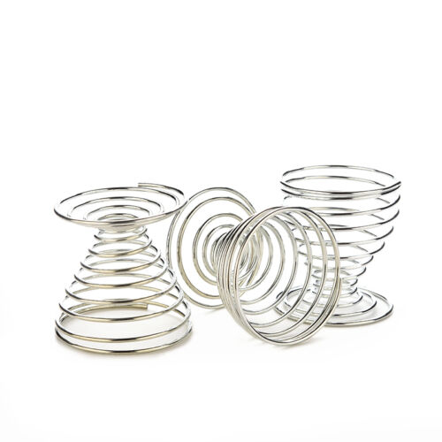Metal Egg Cup Set Spiral Kitchen Breakfast Hard Boiled Springs Holders Egg CupLE