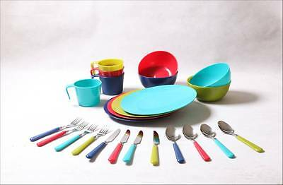 30 X Reusable 24 pieces Dinning Set Dish For Tailgating, Camp, Picnic,Outdoor