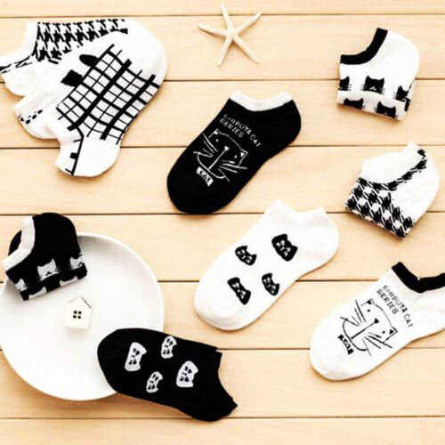 1 Pairs Funky Women Sport Casual Cute Cat Ankle High Low Cut Cotton Socks HOT