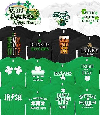 Genial St Patricks Day T Shirt Ireland Irish Leprechaun Drunk Beer Paddy Funny Pub Top