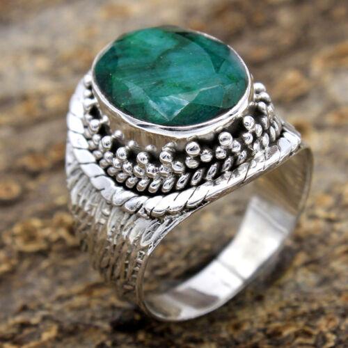 925 Sterling Silver Green Emerald Gemstone Solid handmade Femmes bague taille 6 US