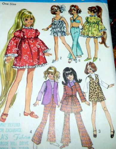 """*GREAT VTG 1960s 17 1//2/""""  DOLL CLOTHING SEWING PATTERN"""