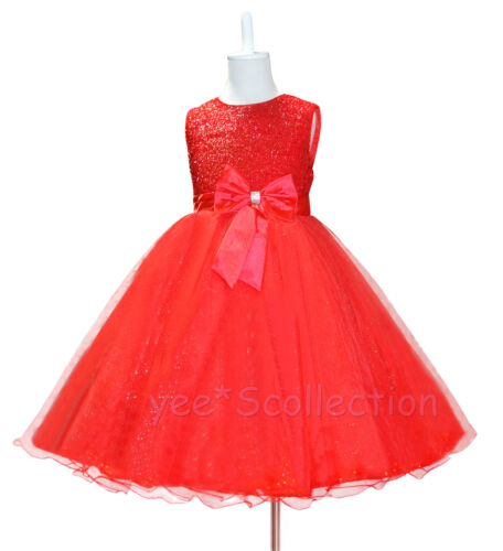 New Red Flower Girl Wedding Party Formal Christmas Dress Age 18M 3T 4T 6y 8y
