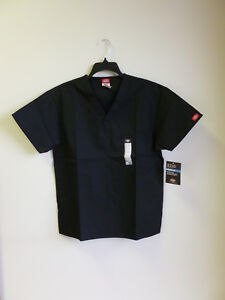 4a6be7d47db Dickies V Neck Scrub Top Unisex EDS 1 Breast Patch Pocket Black ...