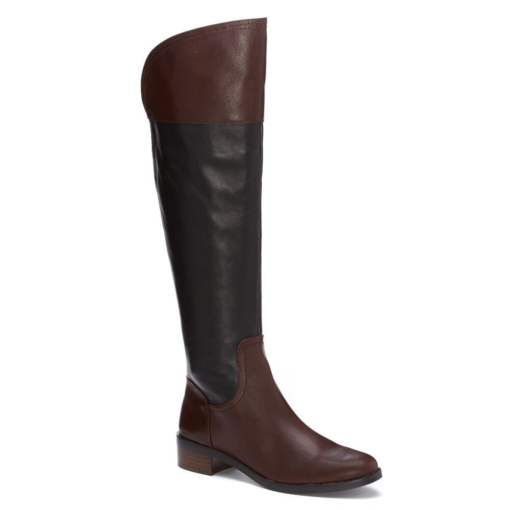 migliore marca NIB Vince Camuto Vatero Over The Knee Leather Leather Leather avvio in nero Chestnut  in vendita