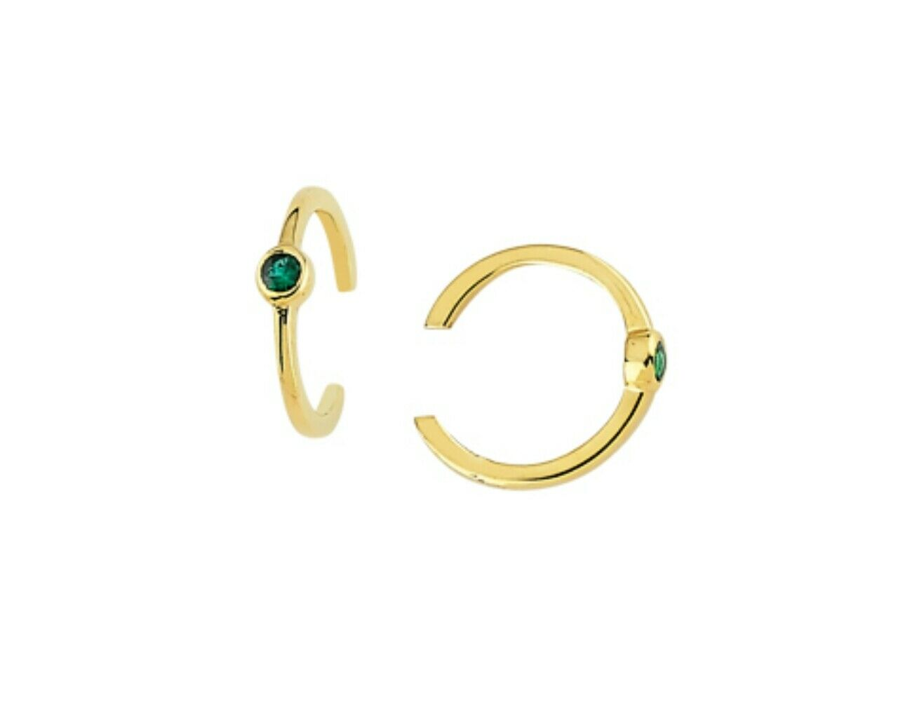 Emerald and 14k ear cuff