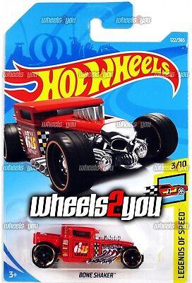 F Case 2018 Hot Wheels BONE SHAKER #122 red Worldwide