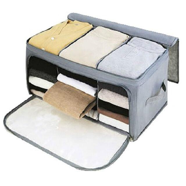 High Quality Foldable Bamboo Storage Bag Box Closet For Quilt Cloths  Organizer