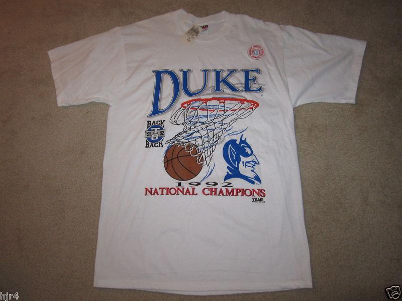Duke Blau Devils 1992 NCAA Basketball Hoops champs Shirt NEW