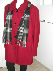 Catherines Front Button Red Coat Jacket with Scarf Size 2X (22-24W).